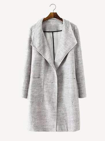 Lapel Longline Coat in Grey