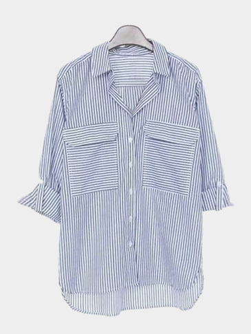 Classic Stripe Pattern Loose Fit Shirt