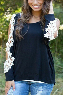 Sexy Black Hollow Out Sleeves Lace Blouse