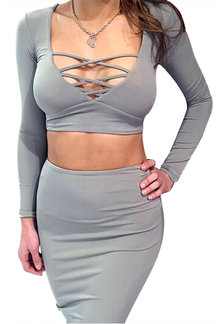 Grey Hollow Out Crop Top & Midi Skirt Co-ord