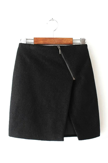 Black Wrap Skirt with Asymmetric Zip