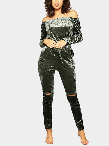 Army Green Casual Velvet Off Shoulder Drawstring Waist Jumpsuit