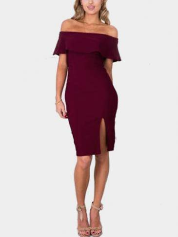 Red Off-shoulder Layered Split Body-con Midi Dress