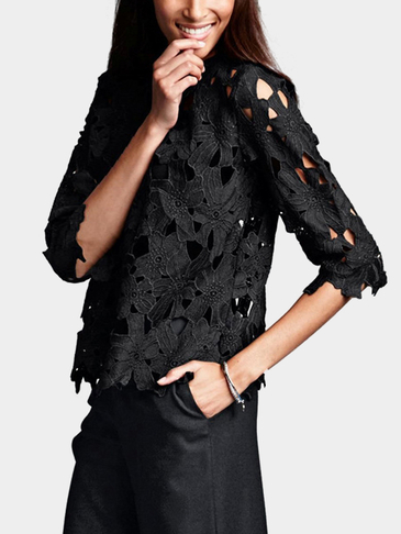 Black Sexy Hollow Shirt with Lace Details