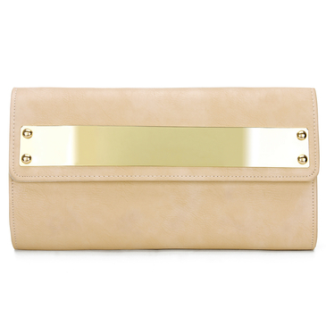 Apricot Leather-look Across Body Clutch Bag with Gold-tone Metal
