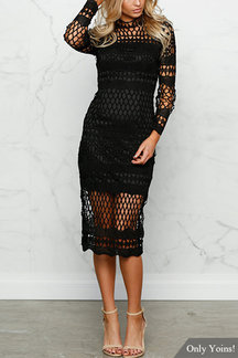 Black Sexy Crew Neck Hollow Design Lace Dress