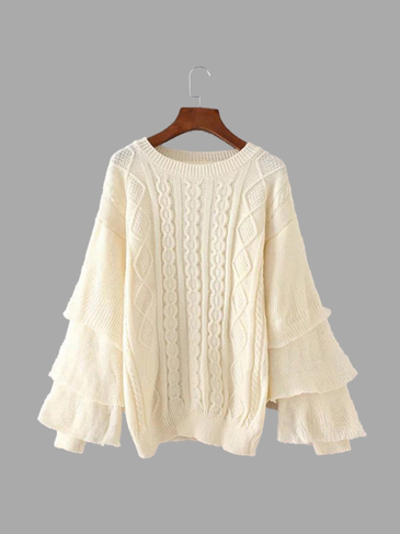 Beige Round Neck Long Sleeves Diamond Jumper