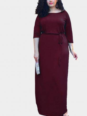 Plus Size 1/2 Length Sleeves Drawstring Waist Maxi Dress in Burgundy