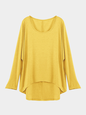 Yellow Loose Women Casual Blouse