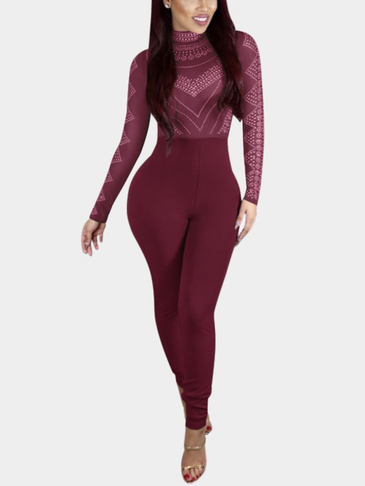 Burgundy Random Floral Print Perkins Collar High-waist Bodycon Jumpsuit