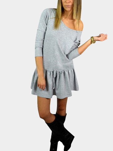 Casual Grey Round Neck Pocket Front Waist Tie Mini Dress