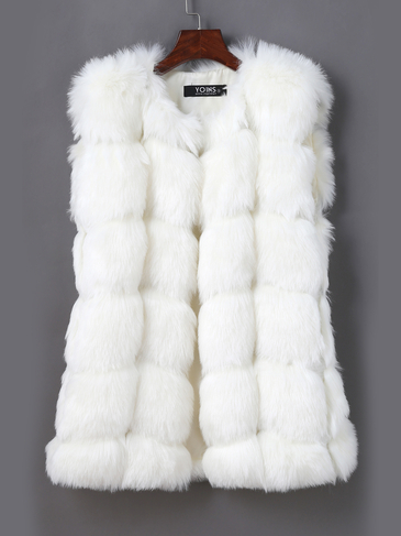 White Dyed Artificial Fox Fur Vest