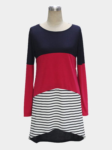 Color Block Long Sleeves Midi Dress