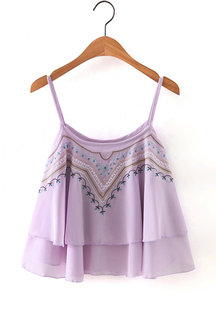 Purple Embroidery Layered Sexy Vest