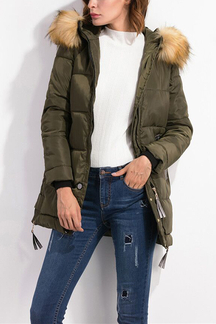 Army Green Fur Hooded Side Zipper Design Padded Coat