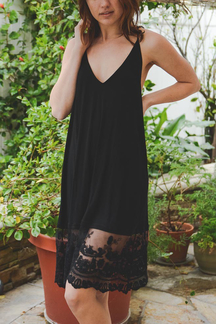 Black V-neck Midi Dress with Lace Details