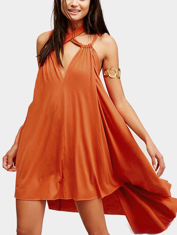 Sleeveless Self-tie Mini Dress with Irregular Hem