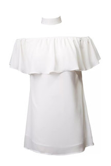Off The Shoulder White Dress with Flouncy Details
