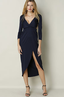 Navy Sexy V-neck Front Split Cutout Back Maxi Dress