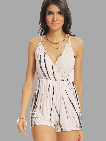 Random Floral Secy Print Spaghetti Strap V-neck Playsuit with Cross Back