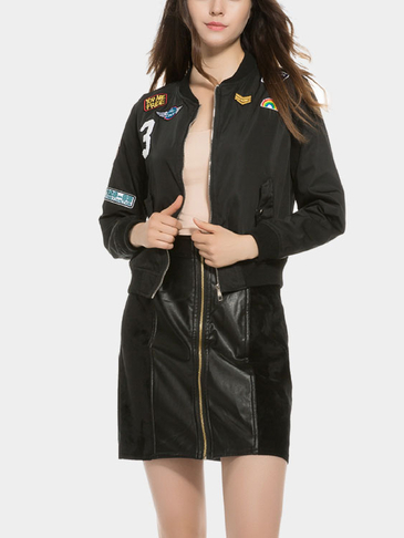 Black Badge Long Sleeves Zipper Front Bomber jacket