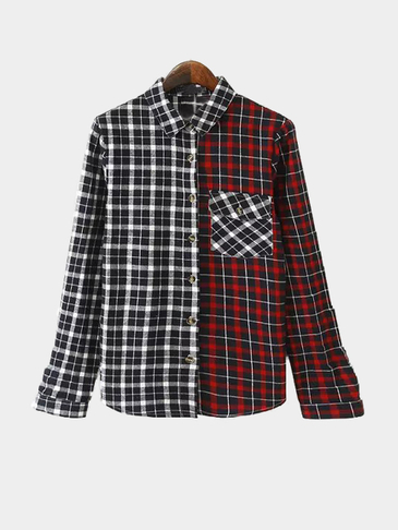 Grid Pattern Contrast Color Long Sleeves Shirt