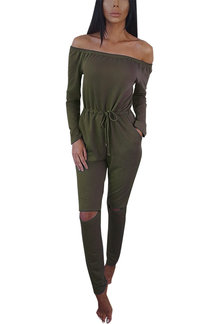 Light Green Fashion Off-shoulder Hollow Knee Jumpsuit