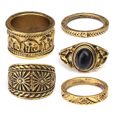 Vintage Style Bronze Carved Stone Elephant Patterns Rings Pack
