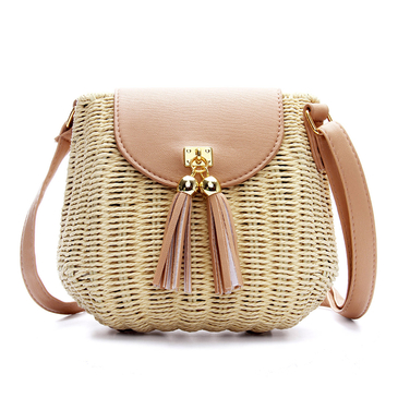 Straw-Woven Crossbody in Beige with Tassel