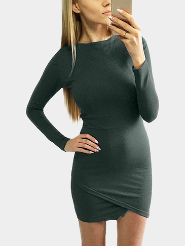Army Green Round Neck Wrap Front Irregular Hem Mini Dress