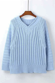Light Blue V-neck Loose Fit Thick Sweater