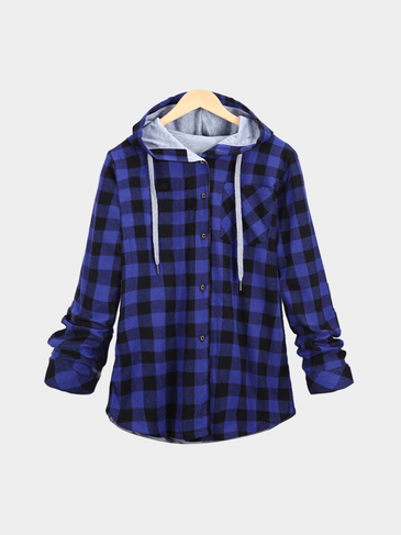 Blue Paid Pattern Single Buttons Hooded Coat