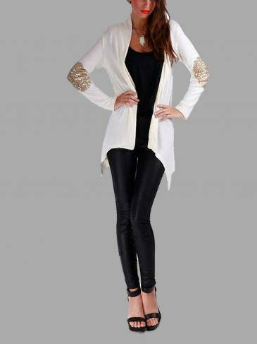 White Open Front Thin Cardigan with Sequin Detail