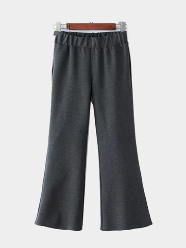Dark Gray Wide Leg Flared Elastic Trousers