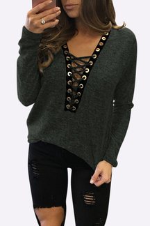 Sexy Deep V-neck Lace-up Front Casual T-shirts in Army Green