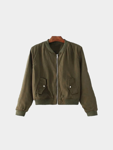 Army Green Bomber Jacket In Basic Style