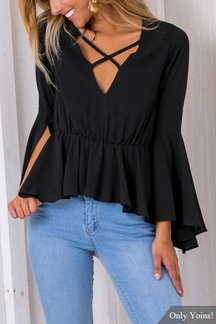 Fashion Black V-neck Splited Long Flared Sleves Blouse