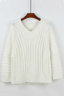 White V-neck Loose Fit Thick Sweater