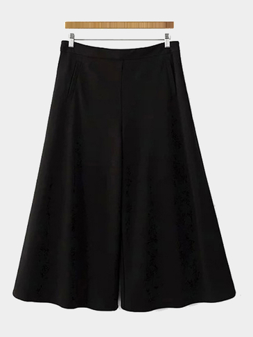 Black Pleated Chiffon Wide Leg Trousers with Pockets