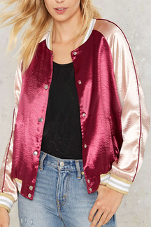 Burgundy Fashion Satin Button Closure Bomber Jacket