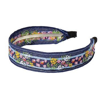 Pastoral Flower Embroidered Headband in Blue