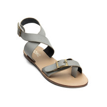 Grey Retro Leather Look Crossed Strap Flat Sandals