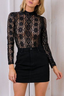 Black Sexy Lace Hollow Out See-through Blouse