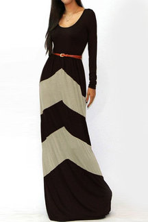 Brown Stripe Long Sleeves Maxi Dress with Stretch Waistband