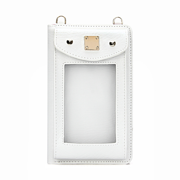 Foldover Leather-look  Zip Around Mobile Purse in White