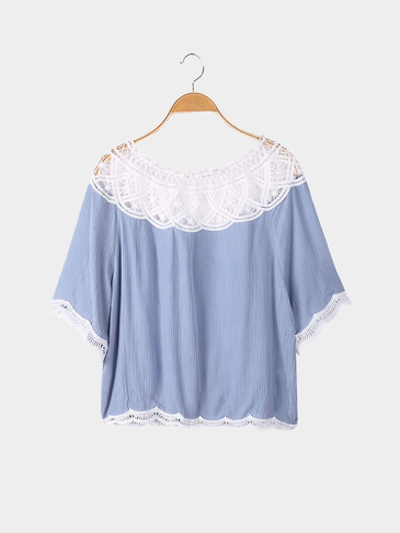 Grey Blue Loose Off Shoulder Lace Detail Top