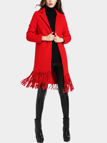 Red Lapel Collar Duster Coat with Tassel Hem