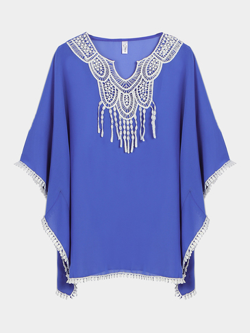 Blue Translucent Beach Cover-up with Lace Detail