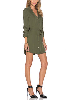 Arm Green Belted Shirt Mini Dress