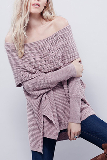 Lilac Off Shoulder Kint Sweater